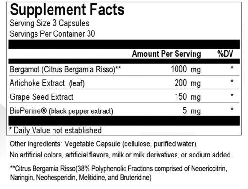 Bergamot Complex (90 caps) - image bergamot-complex-90-caps-supplement-facts-510x390 on https://www.iprogressivemed.com