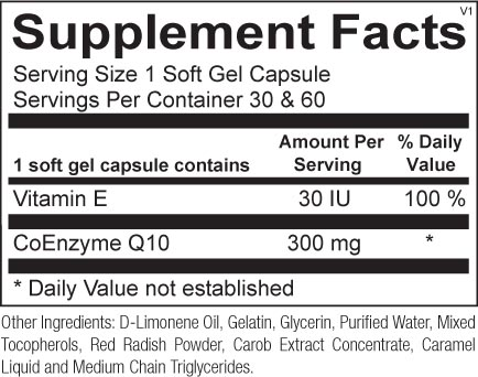 Co-Q10 300mg (60 gelcaps) - image coq10-300mg-60-softgels-supplement-facts on https://www.iprogressivemed.com